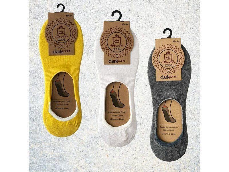 Носки-невидимки мужские - набор из 3 пар (желтые, белые, серые) DARKZONE DZCP3007