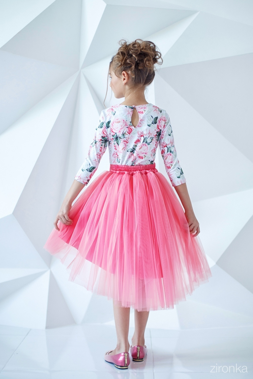 Комплект (блузка, юбка) розовый для девочки 64-7006-2