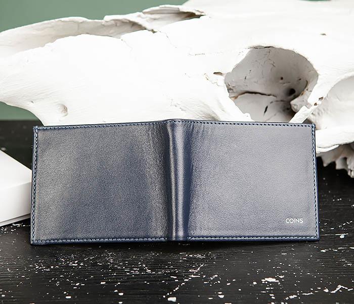 WL325-3 Мужское портмоне с монетницей из кожи синего цвета, «Moriz» фото 04
