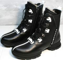 Женские зимние ботинки с натуральным мехом Ripka 3481 Black-White.