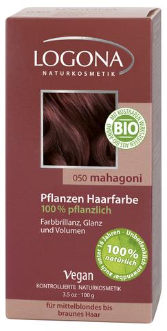 LOGONA растительная краска для волос 050 «МАХАГОН КОРИЧНЕВАТО-КРАСНЫЙ»