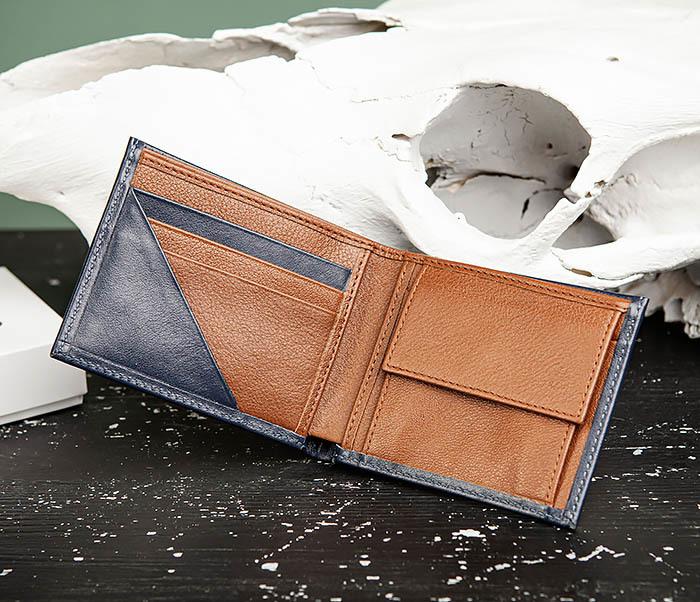 WL325-3 Мужское портмоне с монетницей из кожи синего цвета, «Moriz» фото 05