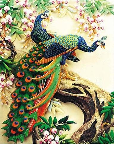 Картина раскраска по номерам 40x50 Два павлина на стволе дерева  (арт. PH9530)