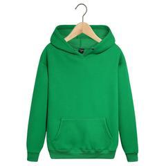 Толстовка однотонная зеленая с капюшоном