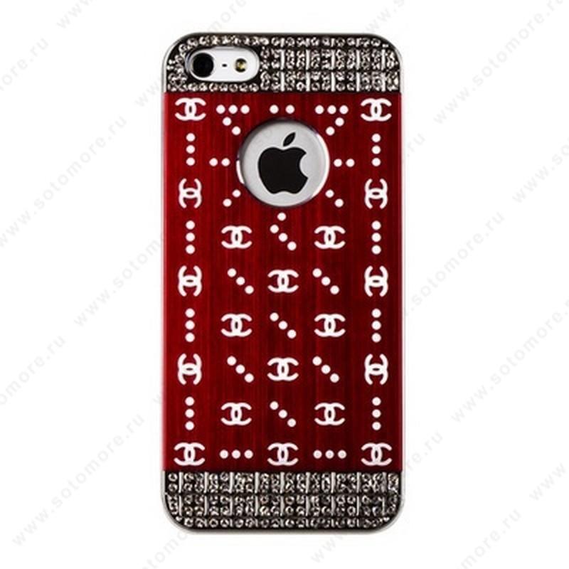 Накладка CHANEL металлическая для iPhone SE/ 5s/ 5C/ 5 серебро бордовая