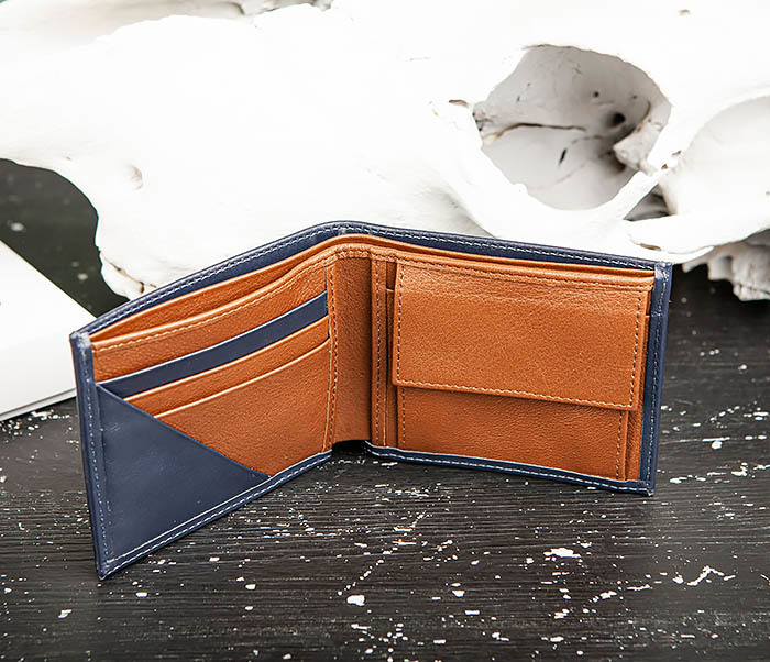 WL325-3 Мужское портмоне с монетницей из кожи синего цвета, «Moriz» фото 06