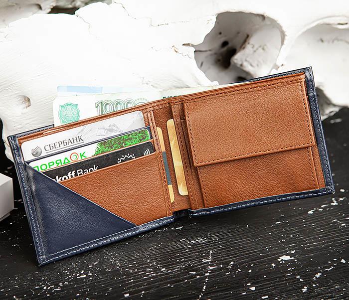 WL325-3 Мужское портмоне с монетницей из кожи синего цвета, «Moriz» фото 07