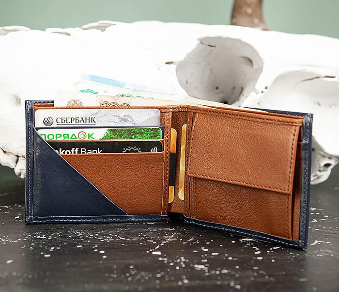 WL325-3 Мужское портмоне с монетницей из кожи синего цвета, «Moriz» фото 08