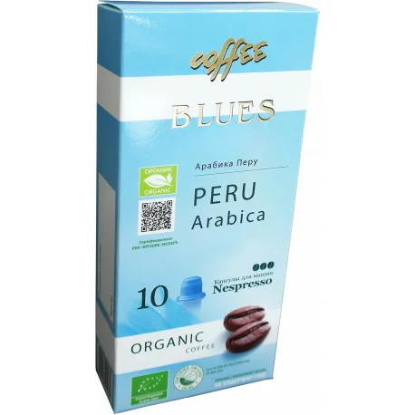 Blues Coffee, кофе органический в капсулах, Peru Organic, 10 шт.