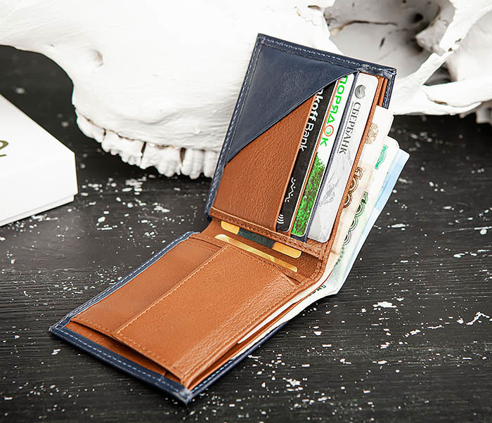 WL325-3 Мужское портмоне с монетницей из кожи синего цвета, «Moriz» фото 09