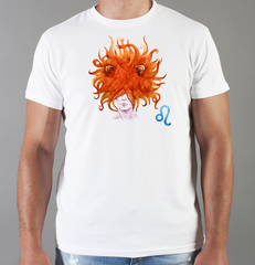 Футболка с принтом Знаки Зодиака, Лев (Гороскоп, horoscope) белая 0035
