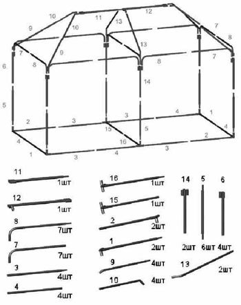 Схема сборки Шатра Митек Пикник-Элит 6,0Х3,0 Ø25 мм