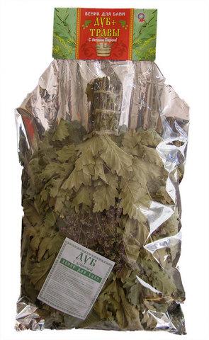 Веник с травами — дуб с чабрецом (в упаковке)