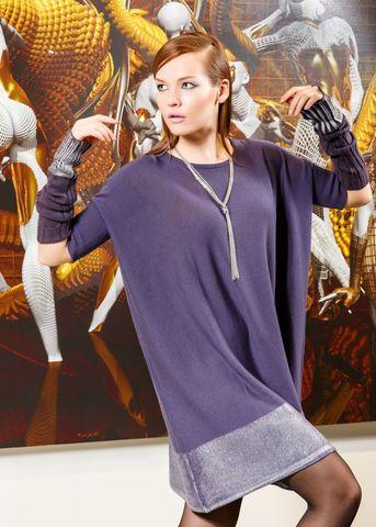 Фото фиолетовые рукава с серебристыми манжетами - Рукава Т807-026 (1)