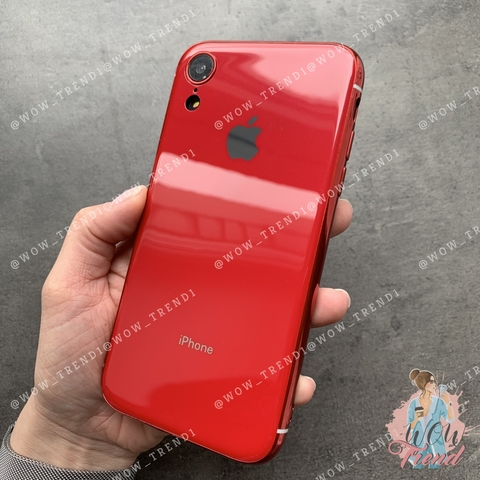 Чехол iPhone XR Glass Silicone Case Logo /red/