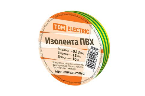Изолента ПВХ 0,13*15мм Желто-Зеленая 10м TDM