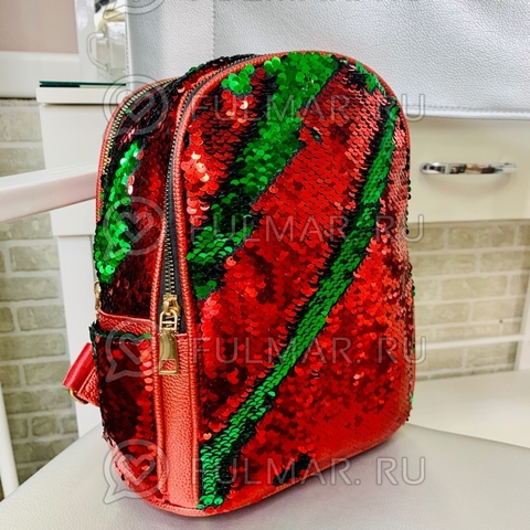 Рюкзак с пайетками меняющий цвет Красный-Зелёный модель Мila