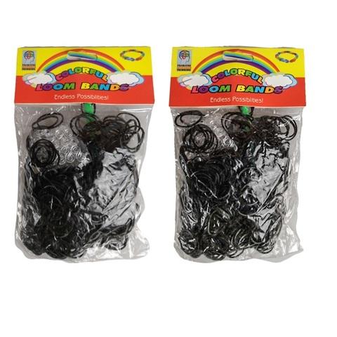 Резинки для плетения с крючком (черные), 12 пакетов х 600 колец