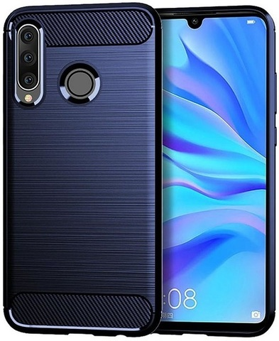 Чехол Huawei P30 Lite (Nova 4E) цвет Blue (синий), серия Carbon, Caseport