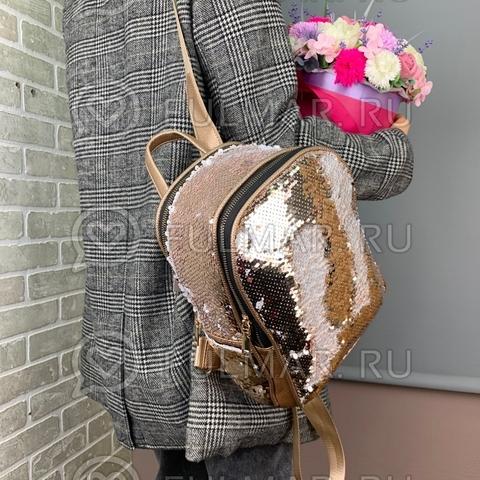 Рюкзак с пайетками меняющий цвет Пудровый-Белый 28х20х13 см