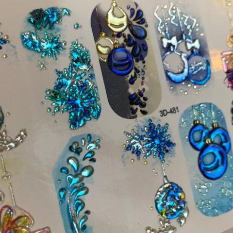 3D слайдер для ногтей новогодние шары микс, 3D-481