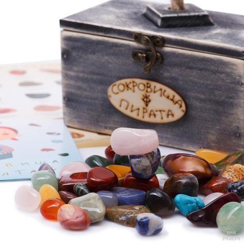 Набор самоцветов Сокровища Пирата N3 с сундучком, 14х8х9 см , 350г
