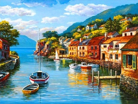 Картина раскраска по номерам 40x50 Дома у реки  (арт. PH9560)