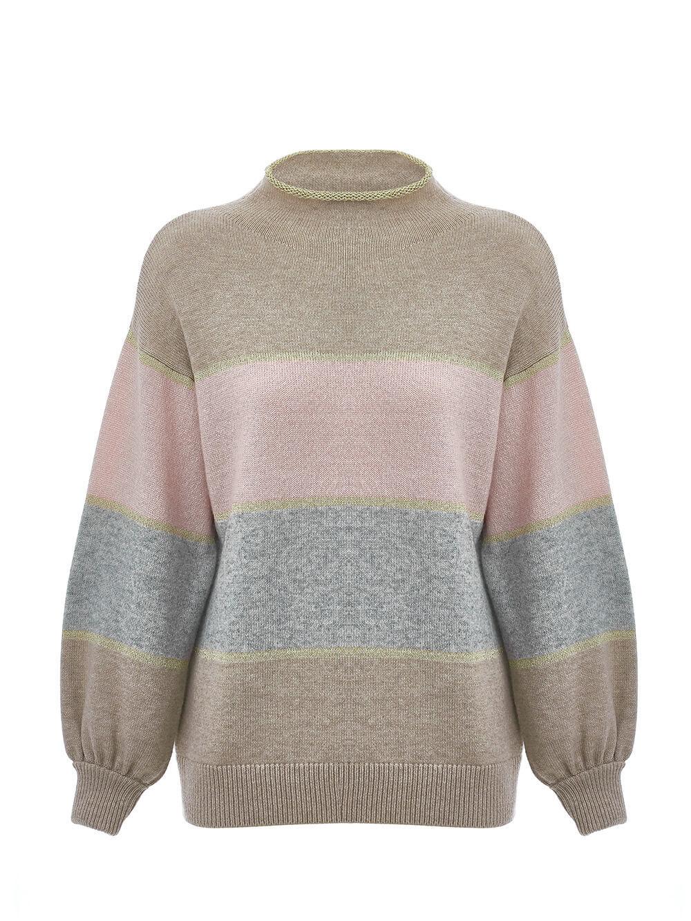 Женский свитер бежевого цвета из шерсти и кашемира в полоску - фото 1