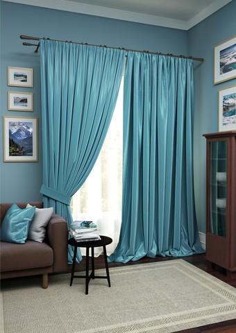 Комплект штор Авери с тюлем синий