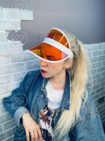 Козырёк от солнца на голову пластиковый прозрачный Оранжевый