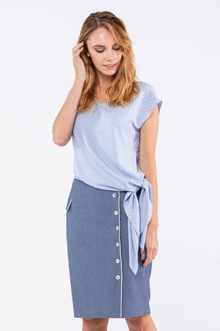 Фото голубая асимметричная блуза-туника с v-образным вырезом - Блуза Г716-133 (1)