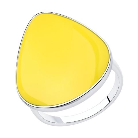 94013132 - Кольцо из серебра с желтой эмалью