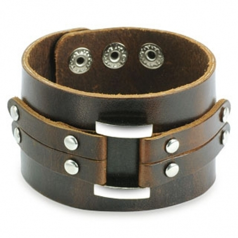 Кожаный браслет SPIKES SL0091-BRN