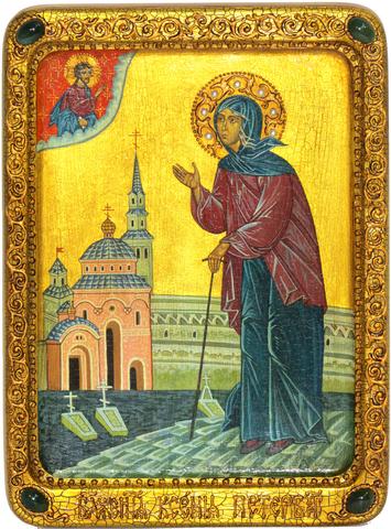 Живописная инкрустированная икона Святая Блаженная Ксения Петербургская 29х21см на кипарисе в подарочной коробке