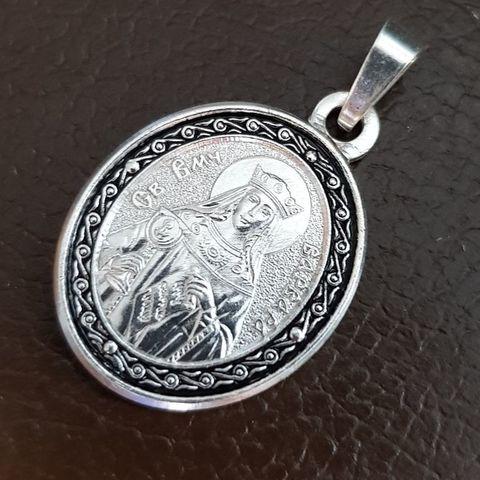 Нательная именная икона святая Варвара с серебрением кулон с молитвой