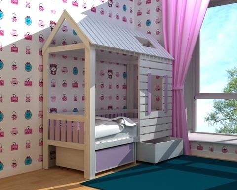Кровать-домик АМИ-1 с ящиками левая