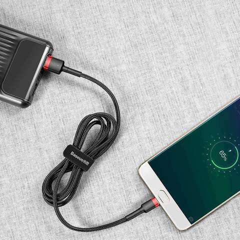 Кабель Baseus cafule Cable USB For Micro 2.4A 0.5M Red+Black