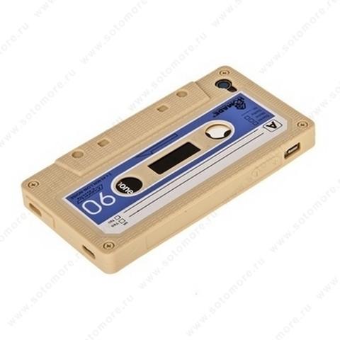Накладка силиконовый для iPhone 4s/ 4 кассета бежевый