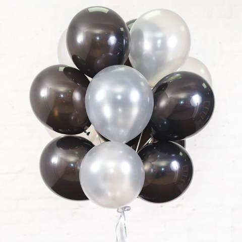 25 шаров 36 см черные и серебро