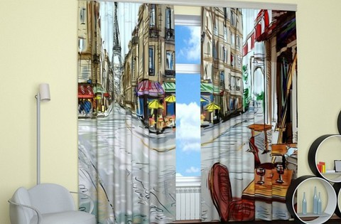Комплект фотоштор Нарисованный Париж