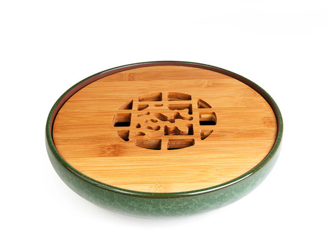 """Чайный поднос из исинской глины с обливной эмалью """"Колотый лед"""" 25 см (зеленый). Интернет магазин чая"""