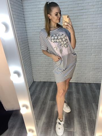 летнее платье в полоску купить