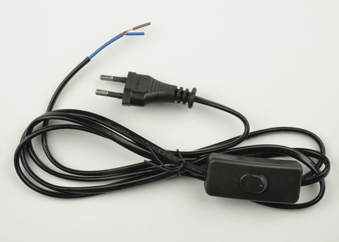 UCX-C10/02A-170 BLACK Сетевой шнур с вилкой и выключателем. 2А, 500Вт, 1,7м. Черный. ТМ Uniel