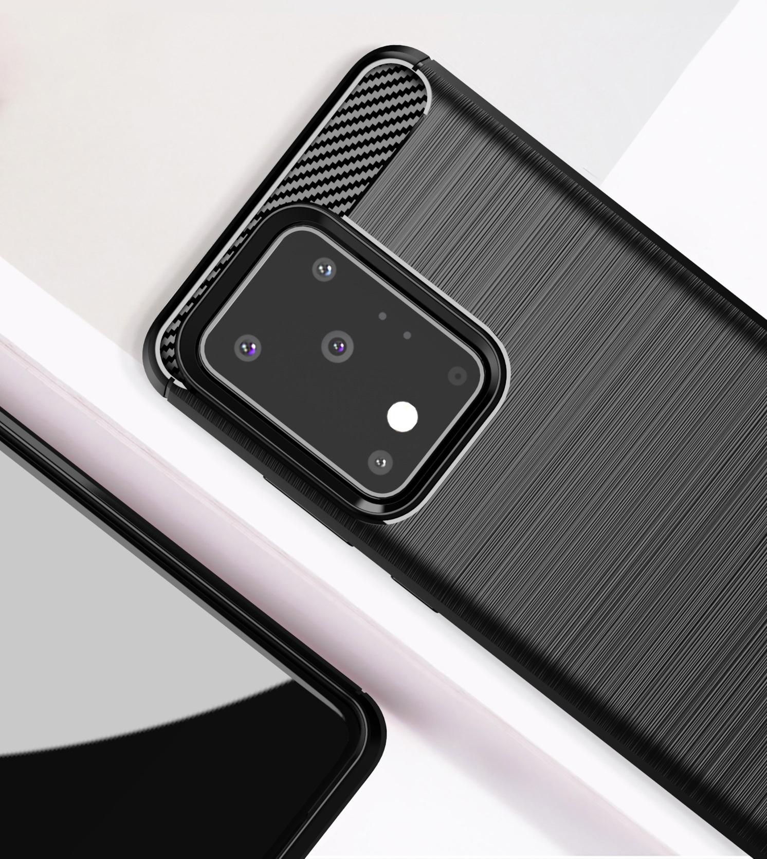 Мягкий чехол черного цвета для Samsung Galaxy S20 Ultra, серии Carbon от Caseport