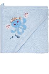 Полотенце-уголок махровое c варежкой для купания