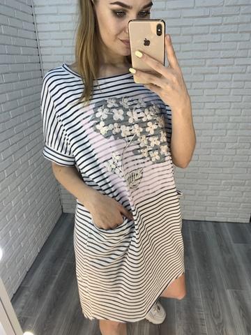 летнее платье в полоску недорого