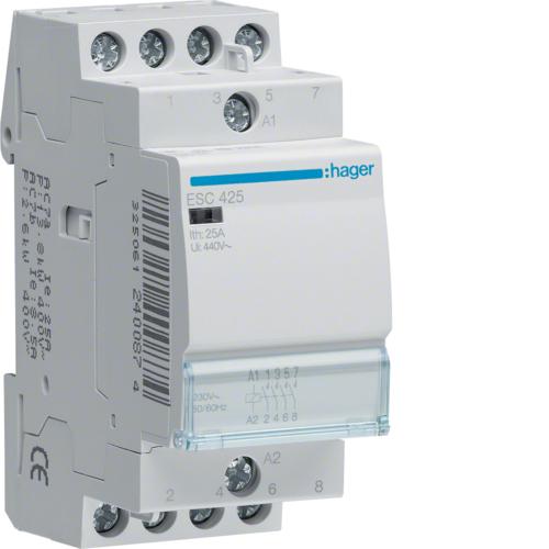 Контактор модульный, 4н.о., AC1/AC7a 25A, Uупр.=230В 50/60Гц, ширина 2М