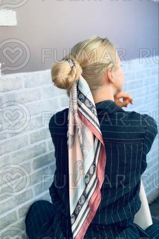 Платок с резинкой модный аксессуар для волос Парижанка (цвет: бежевый)
