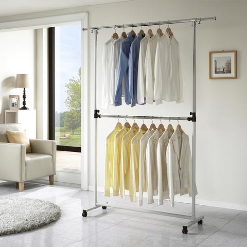 Двухуровневая напольная вешалка для одежды