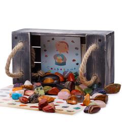 Набор самоцветов Сокровища Пирата N6  с ящиком-песочницей , 27х15х11 см, 1200 г